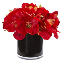 Amaryllis Artificial Arrangement in Glossy Cylinder