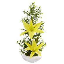 Lily and Boxwood Artificial Arrangement in White Planter