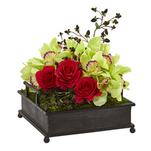 Cymbidium Orchid and Roses Artificial Arrangement in Metal Tray