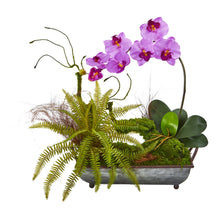 Phelaenopsis Orchid and Fern Artificial Arrangement in Metal Tray