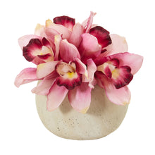 Cymbidium Orchid Artificial Arrangement in Stone Vase