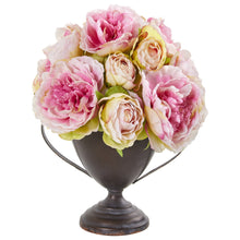 "11"" Peony Artificial Arrangement in Metal Goblet"
