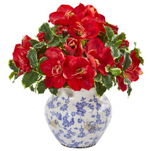 Amaryllis and Variegated Holly Leaf Artificial Arrangement