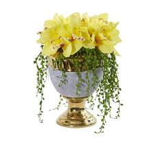 "13"" Cymbidium Orchid Artificial Arrangement in Designer Urn"