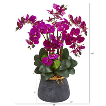 Phalaenopsis Orchid Artificial Arrangement in Stoneware Vase