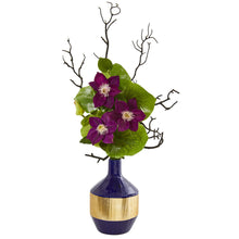 "22"" Anemone and Lotus Leaf Artificial Arrangement in Vase"