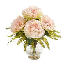 Peony and Fern Artificial Arrangement in Glass Vase