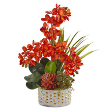 Autumn Phalaenopsis Orchid and Succulent Artificial Arrangement