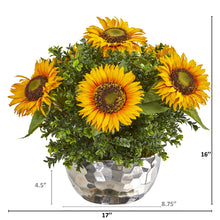 Sunflower Artificial Arrangement in Silver Vase