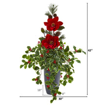 3.5' Magnolia, Pine and Variegated Holly Leaf Artificial Arrangement
