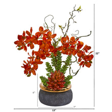Autumn Phalaenopsis Orchid and Succulent Artificial Arrangement in Vase