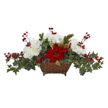 Poinsettia, Hydrangea and Ivy Artificial Arrangement