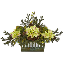 Cymbidium Orchid, Artichoke, Pine and Berries Artificial Arrangement