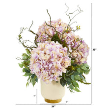Giant Hydrangea and Mixed Greens Artificial Arrangement in White Bowl