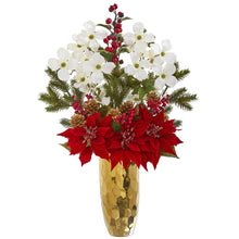 Poinsettia, Dogwood, Holly Berry and Pine Artificial Arrangement in Gold Vase