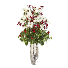 "34"" Dogwood and Holly Berry Artificial Arrangement in Silver Vase"