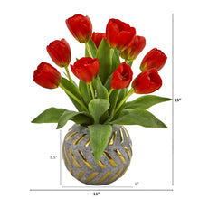 Tulip Artificial Arrangement in Decorative Vase