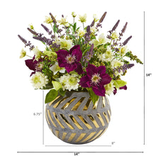 "14"" Mixed Artificial Flower Arrangement in Stoneware Vase with Gold Trimming"