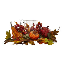 Pumpkin, Gourd, Berry and Maple Leaf Artificial Arrangement Candelabrum