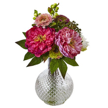 Peony and Mum in Glass Vase