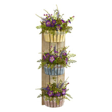 "39"" Morning Glory Artificial Arrangement in Three-Tiered Wall Decor Planter"
