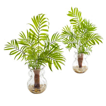 Mini Areca Palm Artificial Plant in Glass Vase (Set of 2)