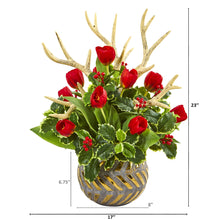 Tulips, Antlers and Holly Leaf Artificial Arrangement in Bowl