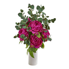 Peony and Eucalyptus Artificial Arrangement in White Vase