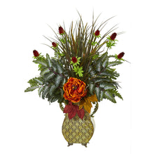 Peony Mixed Greens and Thistle Artificial Arrangement