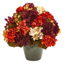 "20"" Autumn Hydrangea Artificial Arrangement in Green Vase"