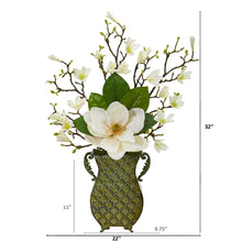 Magnolia Artificial Arrangement in Metal Vase