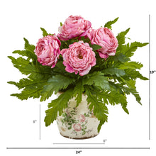 Peony and Fern Artificial Arrangement in Floral Vase