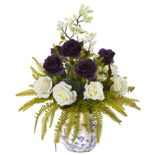 Rose, Thistle and Grass Artificial Arrangement in Vase