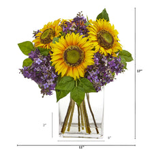 Sunflower and Lilac Artificial Arrangement in Vase