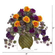 Rose and Gloxinia Artificial Arrangement in Metal Vase