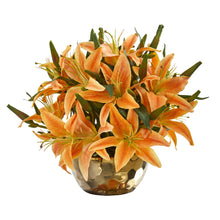 Lily Artificial Arrangement in Gold Vase