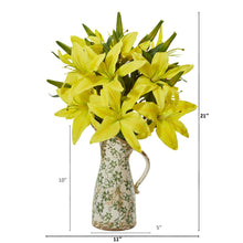 Lily Artificial Arrangement in Floral Pitcher