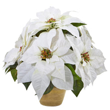 Poinsettia Artificial Arrangement in Ceramic Vase