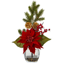 Poinsettia, Berry and Pine Artificial Arrangement in Vase