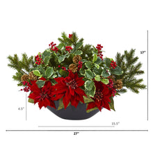 Poinsettia, Holly, Berry and Pine Artificial Arrangement