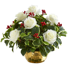 Rose and Variegated Holly Leaf Artificial Arrangement in Gold Bowl