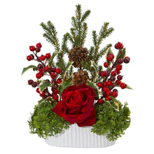Rose, Holly Berry, Pine & Pinecone Artificial Arrangement in White Vase