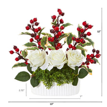 "12"" Rose and Holly Berry Artificial Arrangement in White Vase"