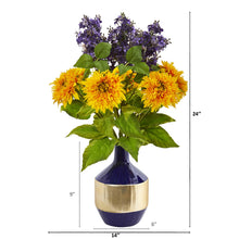 Sunflower and Lilac Artificial Arrangement in Blue and Gold Vase