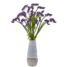 "23"" Baby Breath Artificial Arrangement in Oval Vase with Gold Trimming"