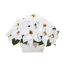 "16"" Poinsettia Artificial Arrangement in White Wash Planter"