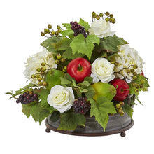 "17"" Rose, Hydrangea and Faux Fruits Artificial Arrangement in Metal Tray"