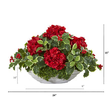 Hydrangea and Holly Leaf Artificial Arrangement in Decorative Vase