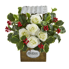 "14"" Rose and Variegated Holly Leaf Artificial Arrangement in Tin Roof Planter"