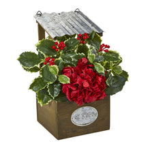 "14"" Hydrangea and Holly Leaf Artificial Arrangement in Tin Roof Planter"